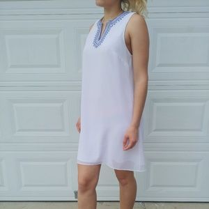 White shift dress above knee career casual party